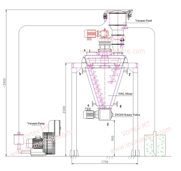 GMP standard vacuum type conical screw mixer, jacket