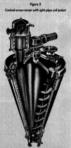 conical screw mixer with split-pipe coil jacket